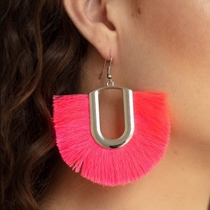 neon fringe earrings | pink